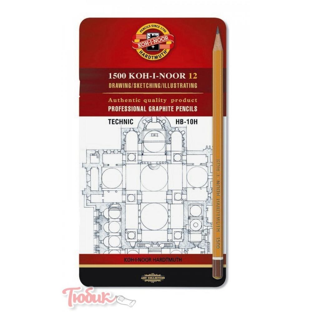 Набор карандашей KOH-I-NOOR 12 штук HB-10H,1502, металлическая коробка