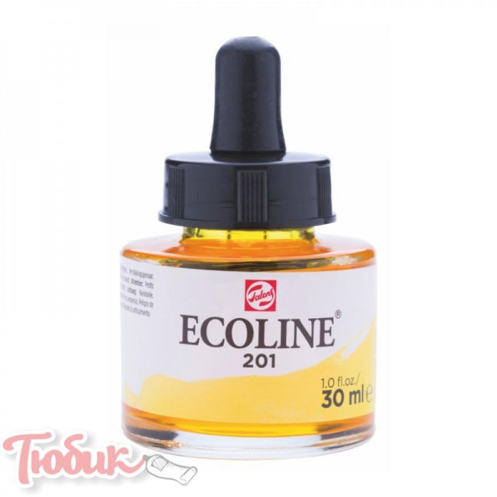 Краска акварельная жидкая Ecoline (201), Желтая светлая, 30 мл, Royal Talens
