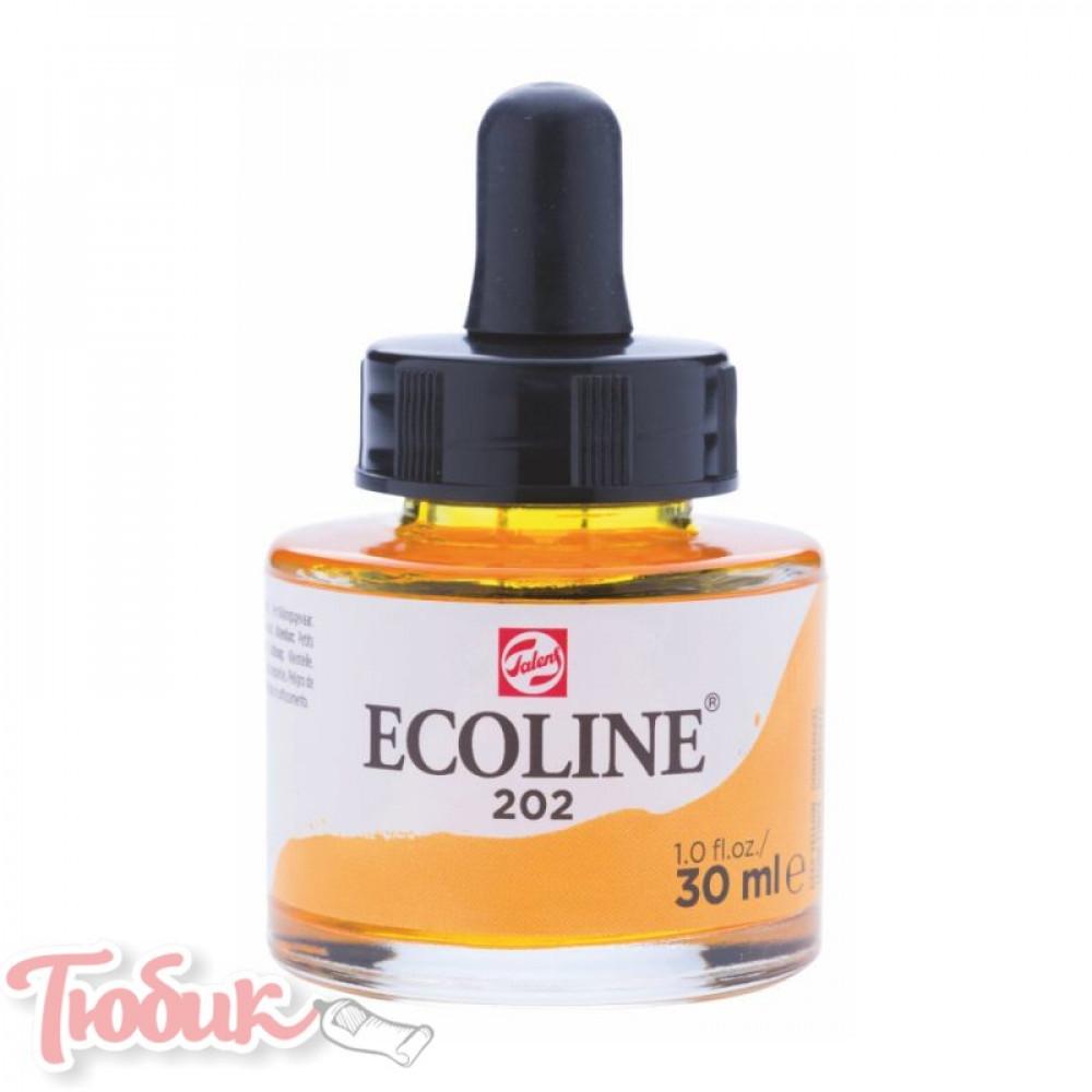Краска акварельная жидкая Ecoline (202), Желтая темная, 30 мл, Royal Talens