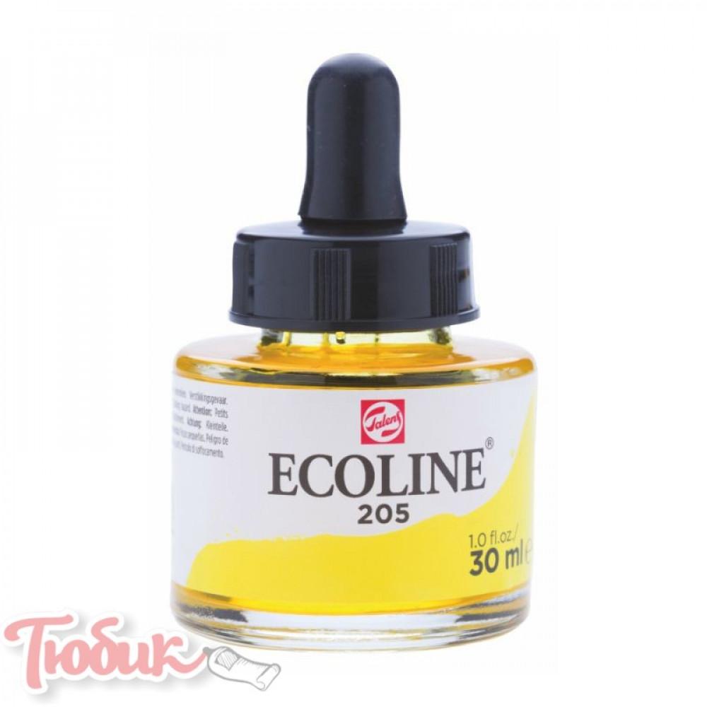 Краска акварельная жидкая Ecoline (205), Желтая лимонная, 30 мл, Royal Talens