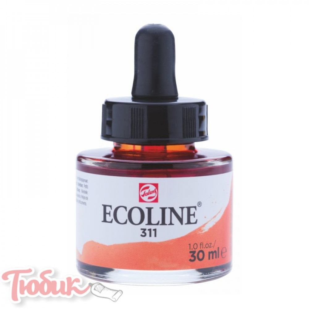 Краска акварельная жидкая Ecoline (311), Киноварь, 30 мл, Royal Talens