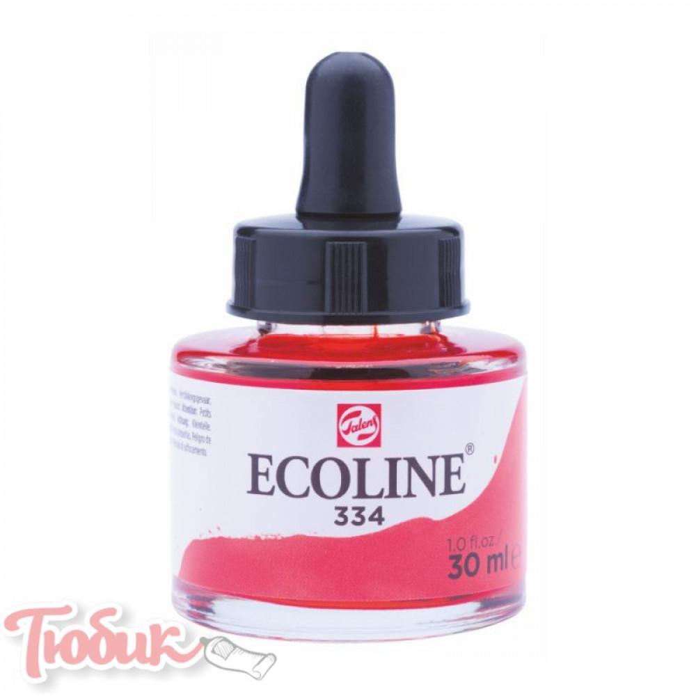 Краска акварельная жидкая Ecoline (334), Красня яркая, 30 мл, Royal Talens