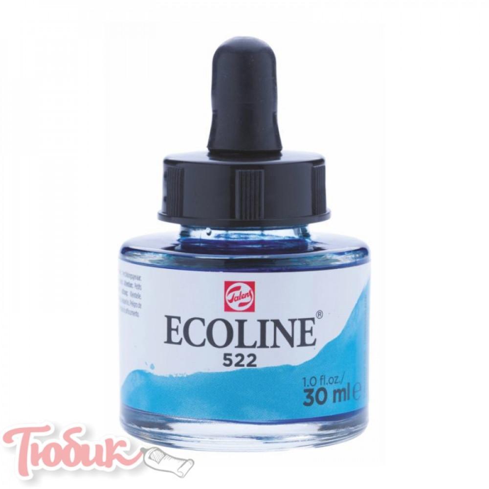 Краска акварельная жидкая Ecoline (522), Бирюзовая синяя, 30 мл, Royal Talens