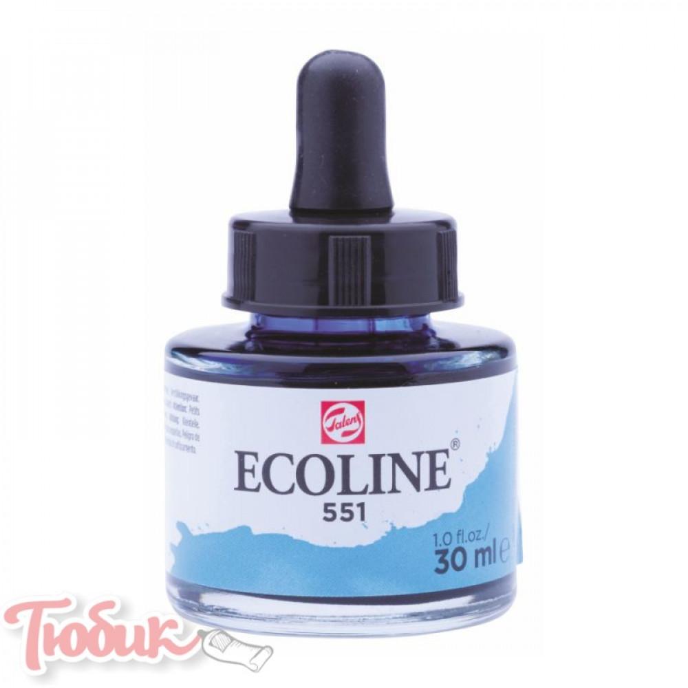 Краска акварельная жидкая Ecoline (551), Небесно-голубая светлая, 30 мл, Royal Talens