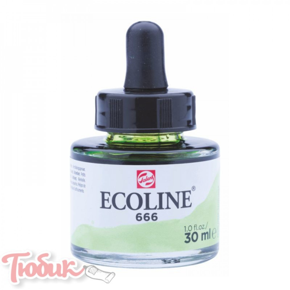 Краска акварельная жидкая Ecoline (666), Пастельная зеленая, 30 мл, Royal Talens