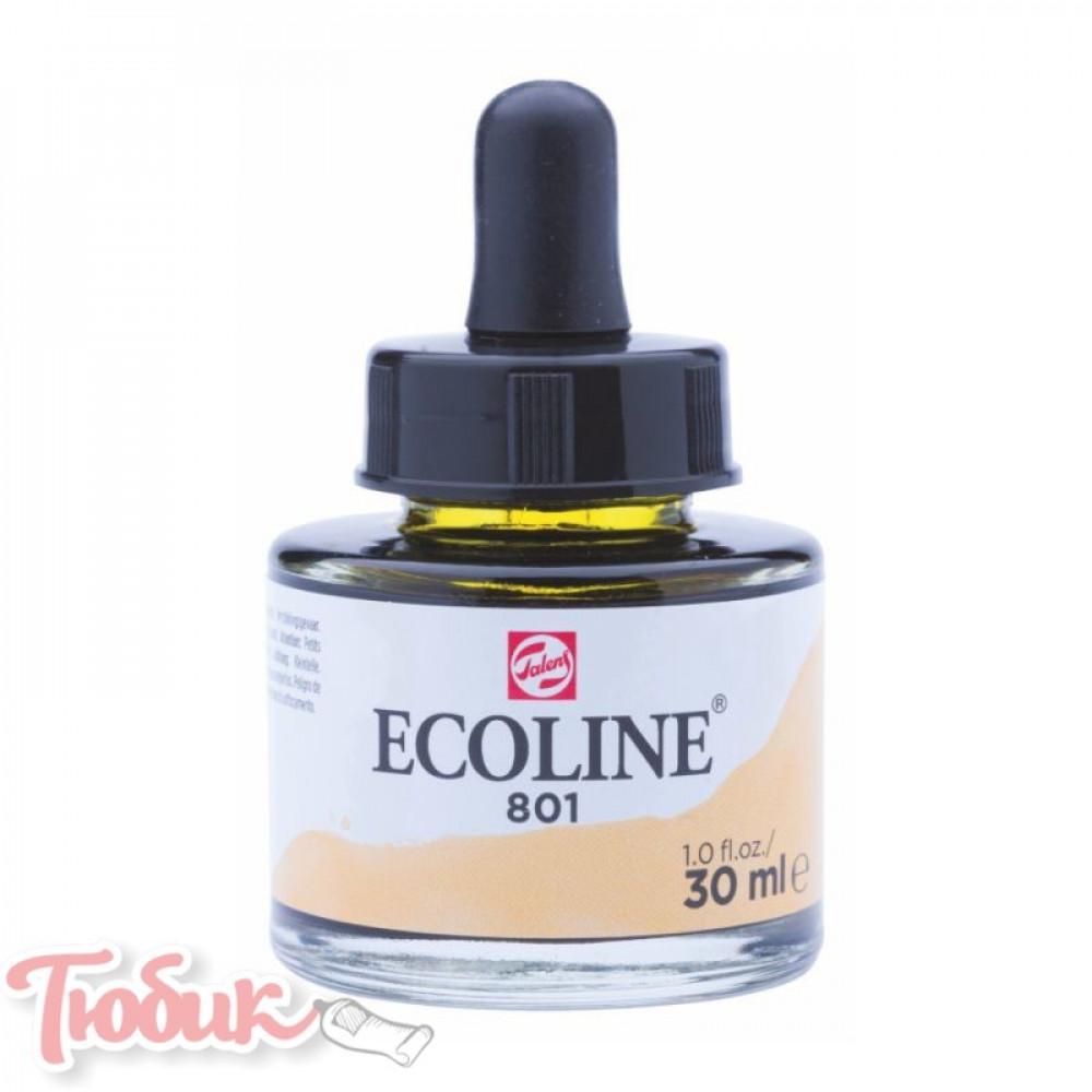Краска акварельная жидкая Ecoline (801), Золото, 30 мл, Royal Talens