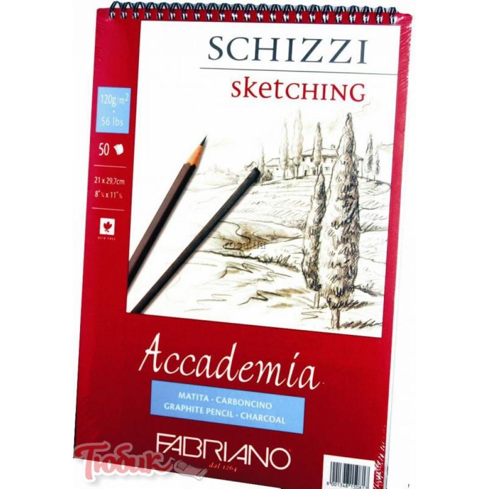 Альбом на спирали Accademia А5 (14,8*21см) 120г/м², 50л, мелкое зерно, Fabriano