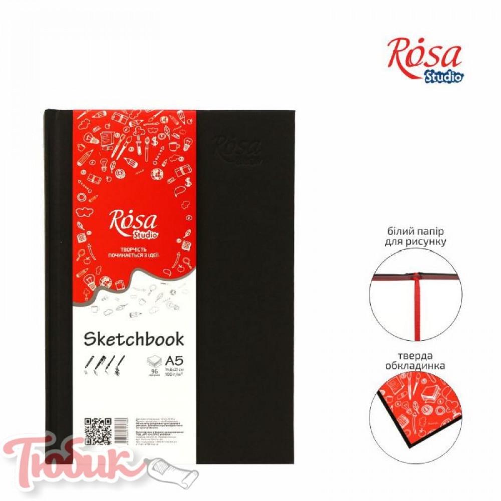 Блокнот A5 (14,8*21см), 100г/м² 96л., черный, ROSA Studio