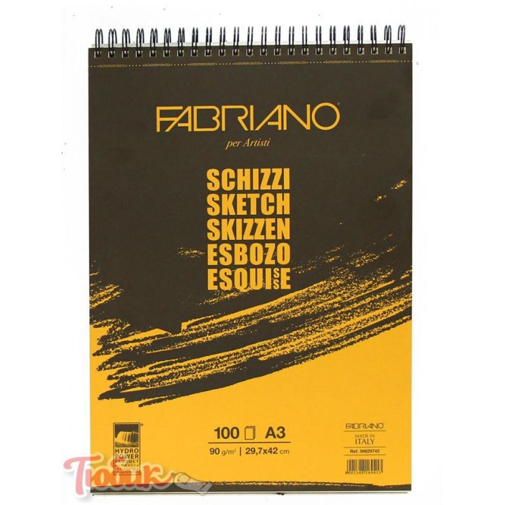 Альбом для эскизов на спирали Schizzi Sketch A3 (29,7x42 см), 90г/м², 100л., Fabriano