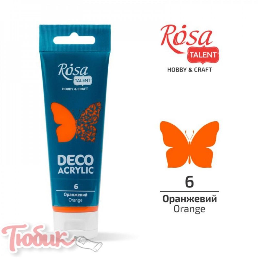 Акрил для декора, Оранжевый, матовый, 75 мл, ROSA TALENT