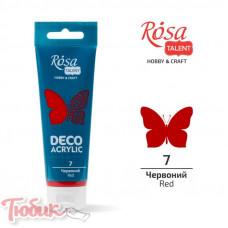 Акрил для декора, Красный, матовый, 75 мл, ROSA TALENT