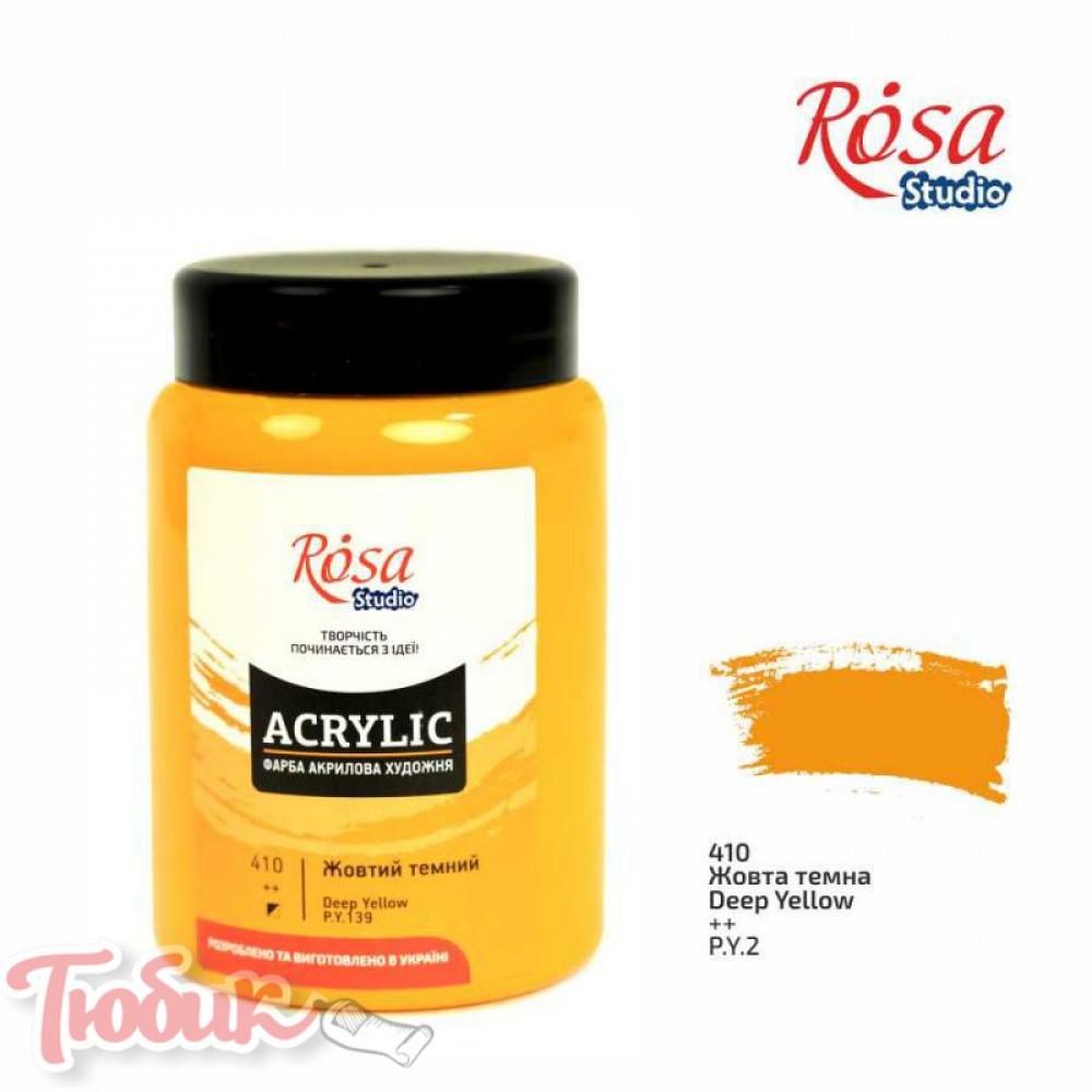 Краска акриловая, Желтая темная, 400 мл, ROSA Studio