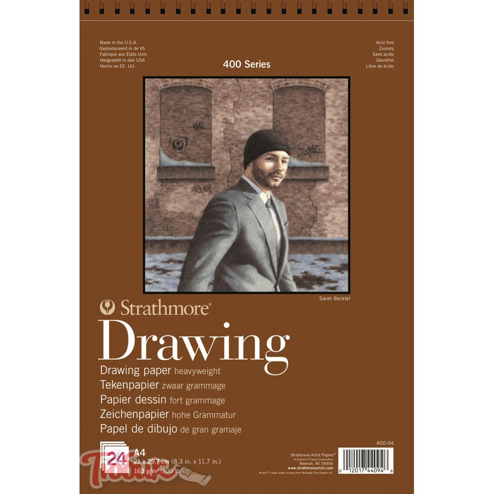 Альбом для графики 400 Series Drawing 163г/м² 29.7*42см 24л спираль по короткой стороне,Strathmore