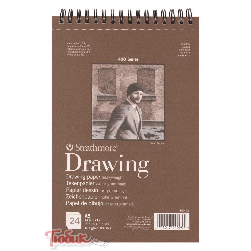 Альбом для графики 400 Series Drawing 163г/м² 14.8*21см 24л спираль по короткой стороне,Strathmore