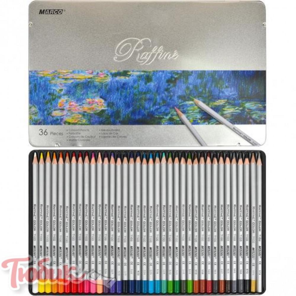 Набор цветных карандашей 36 цв. шестигранные в метал. кор. «Raffine» Marco 7100-36TN