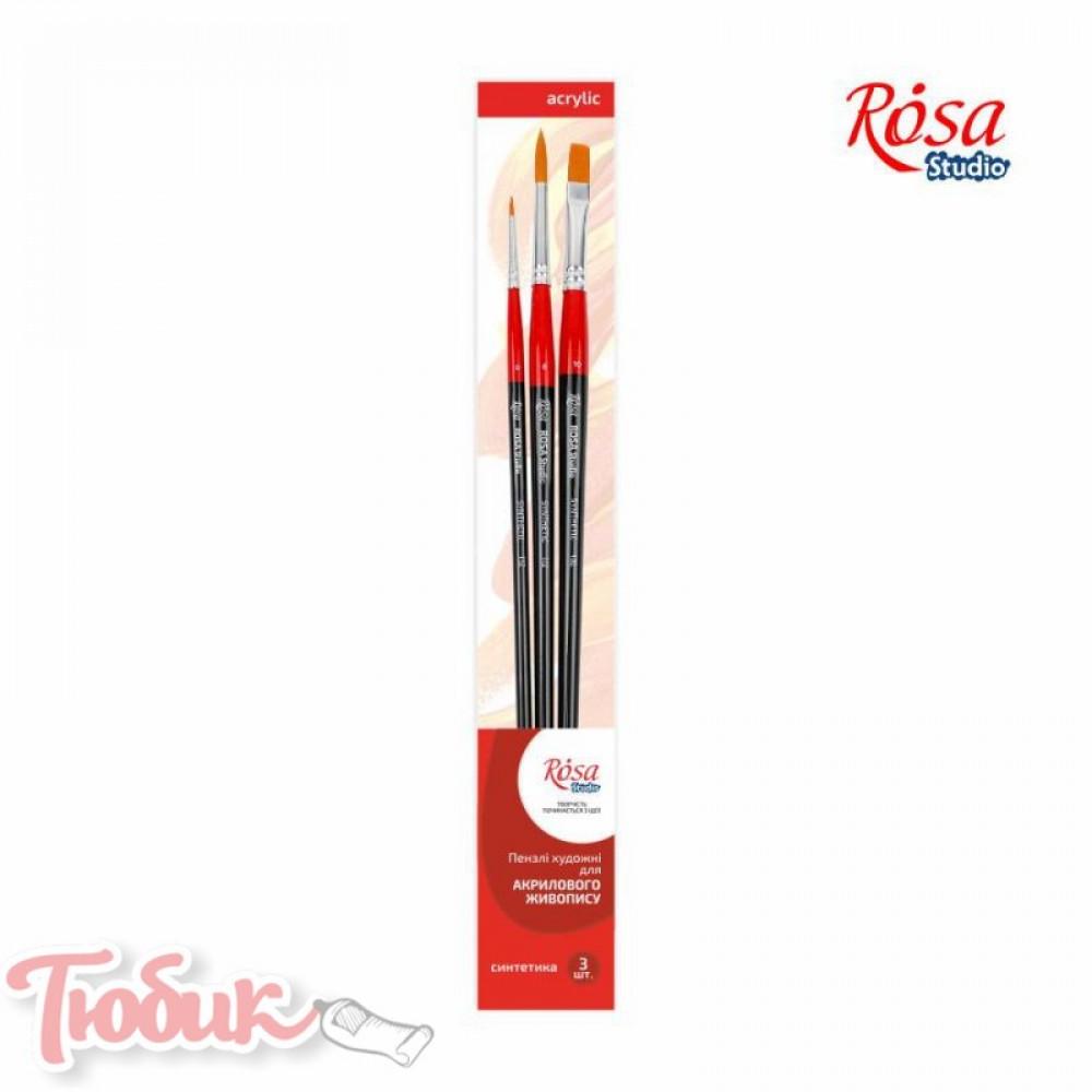 Набор кистей 4, синтетика, 3шт., плоская (№10), круглая (№0,6), д.р., ROSA Studio
