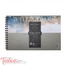 Альбом для акварели на спирали 25% хлопка Watercolor Studio 24х32см, 300г/м², 12л, торшон, Fabriano