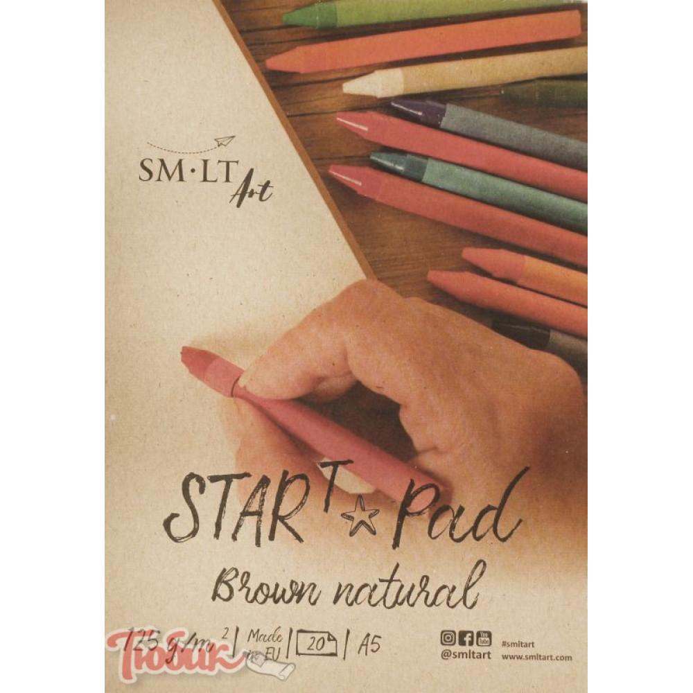 Склейка для эскизов STAR T (Kraft) А5, 125г/м², 20л, коричневый цвет, SMILTAINIS
