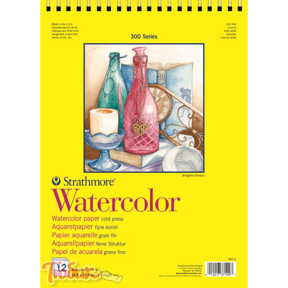Альбом для акварели 300 Series Watercolor 300г/м² (целлюлоза) 22.9*30.5см 12л спираль по короткой стороне,Strathmore