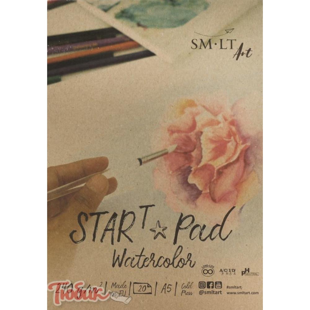 Склейка для акварели STAR T А5, 240г/м², 20л, натуральный белый, SMILTAINIS