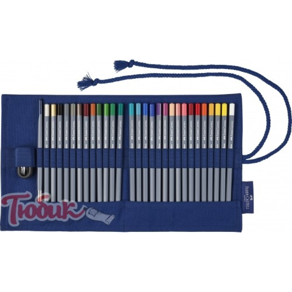 Акварельные карандаши Goldfaber Aqua 27 цветов  кисть  точилка В тканевом рулоне,Faber-Castell