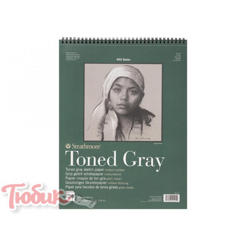 Блокнот для зарисовок 400 Series Toned Sketch Gray 118г/м² 27.9*35.6см 24л спираль,Strathmore
