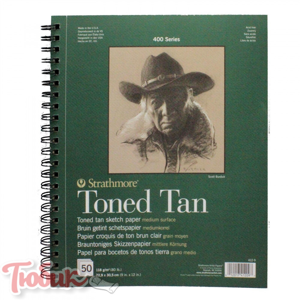Блокнот для зарисовок 400 Series Toned Sketch Tan 118г/м² 22.9*30.5см 50л спираль,Strathmore
