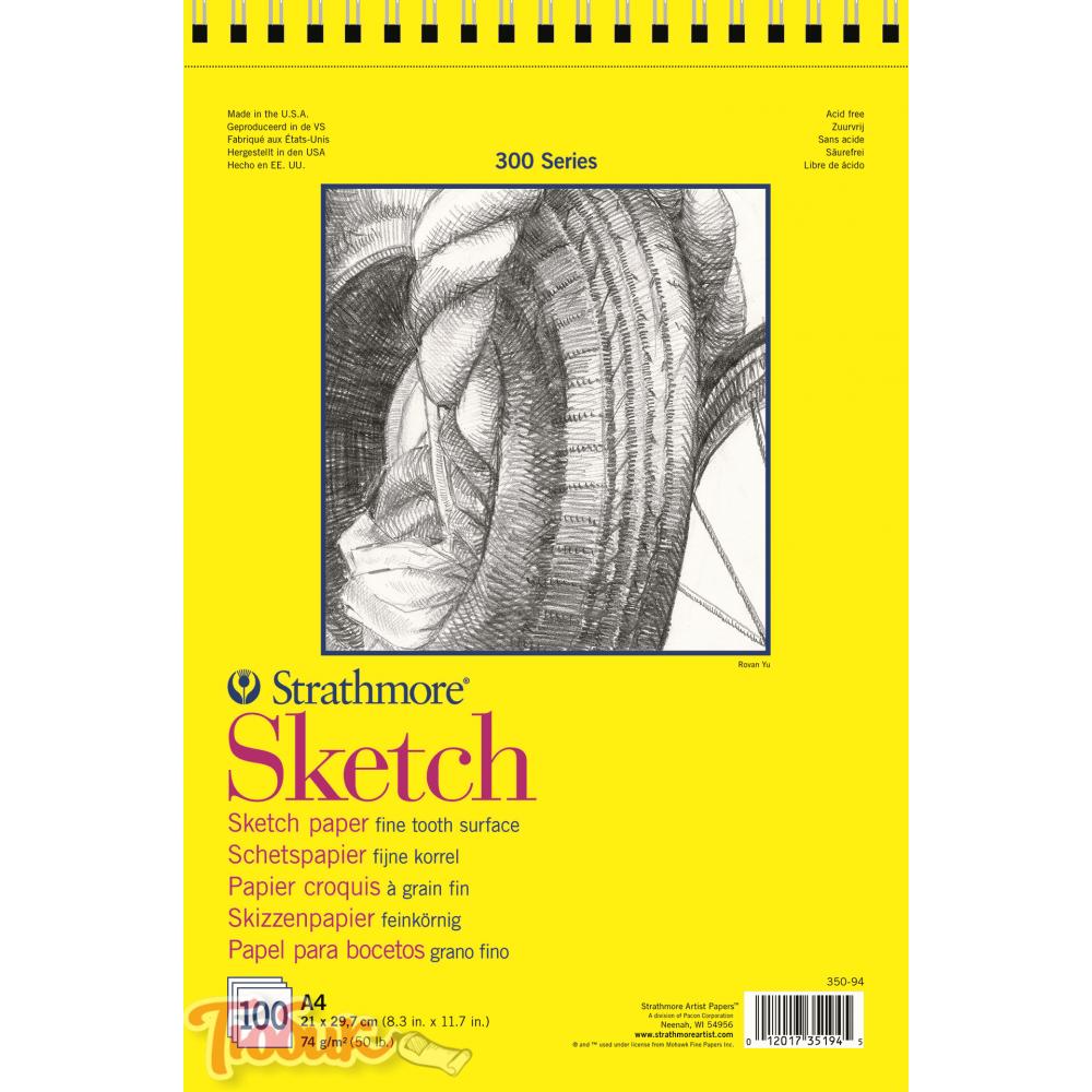 Альбом для зарисовок 300 Series Sketch 74г/м² 21*29.7см 100л спираль по короткой стороне,Strathmore