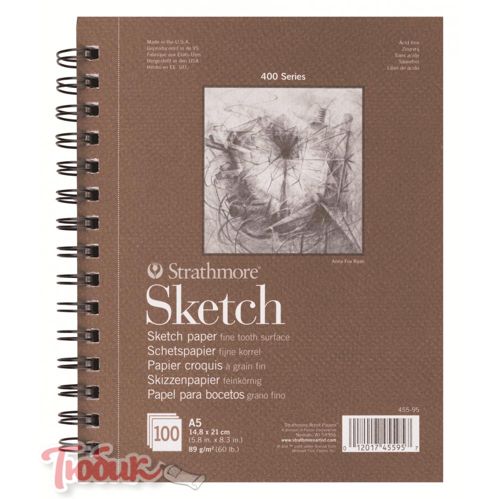 Альбом для зарисовок 400 Series Sketch 89г/м² 21*29.7см 100л спираль по длинной стороне,Strathmore