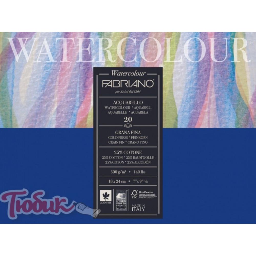 Склейка-блок для акварели 25% хлопок Watercolor A5 (18х24см), 200г/м², 20л, среднее зерно, Fabriano