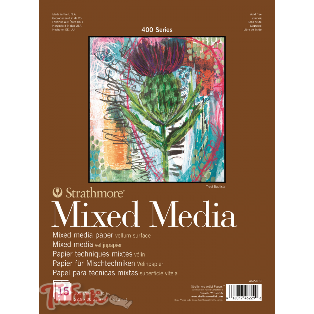 Альбом для смешанных техник 400 Series Mixed Media 300г/м² 22.9*30.5см 15л склейка по 1 стороне,Strathmore