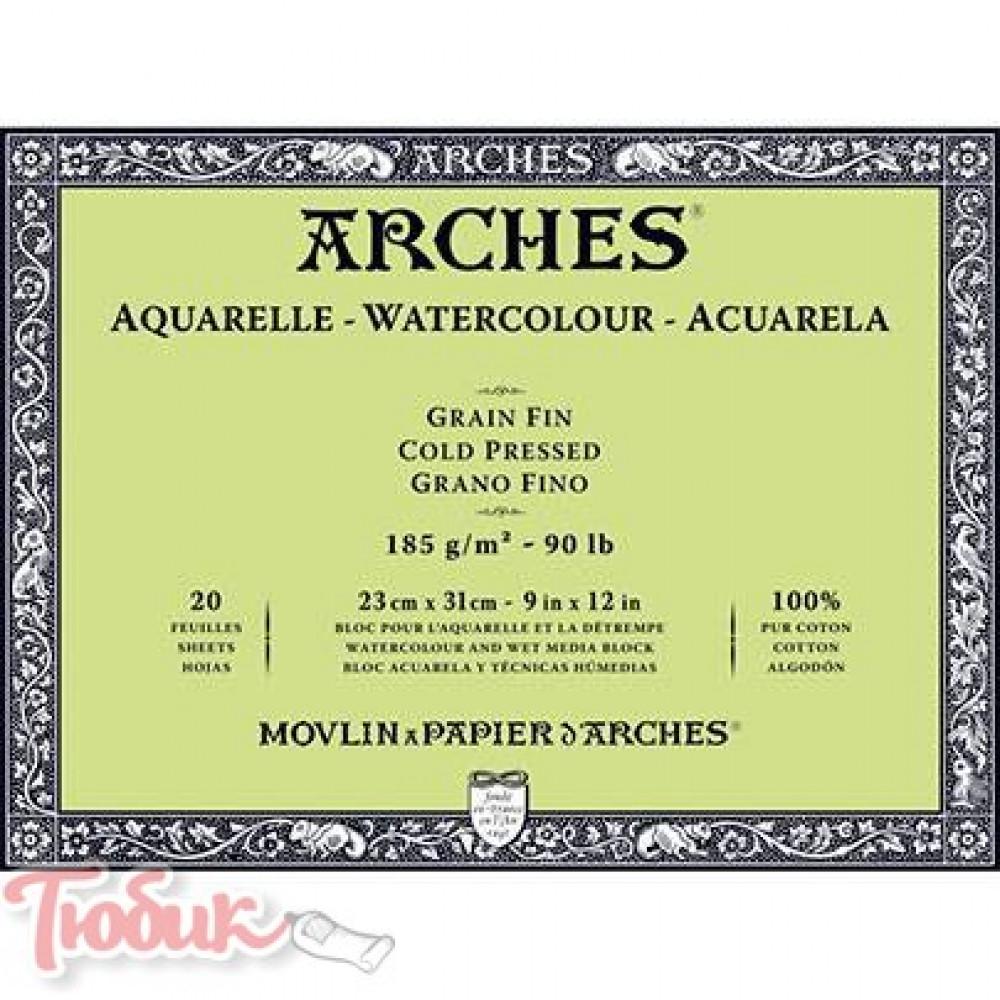 Блок бумаги для акварели холодного прессования Arches Cold Pressed 300 гр,14,8х21см, 12 лист,100%хлопок
