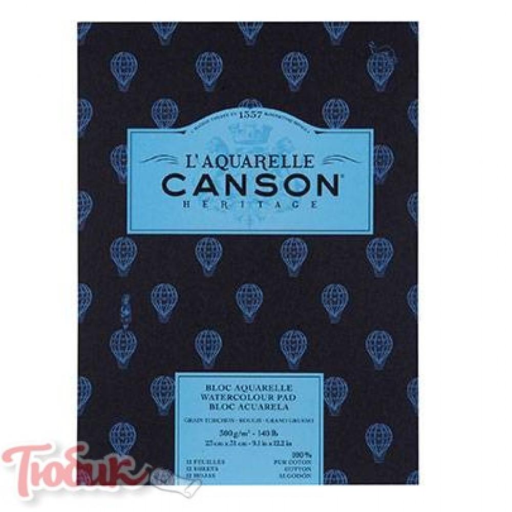 Альбом для акварели Canson Heritage, грубое зерно, 300 гр, 23х31 см, 12 листов,100%хлопок