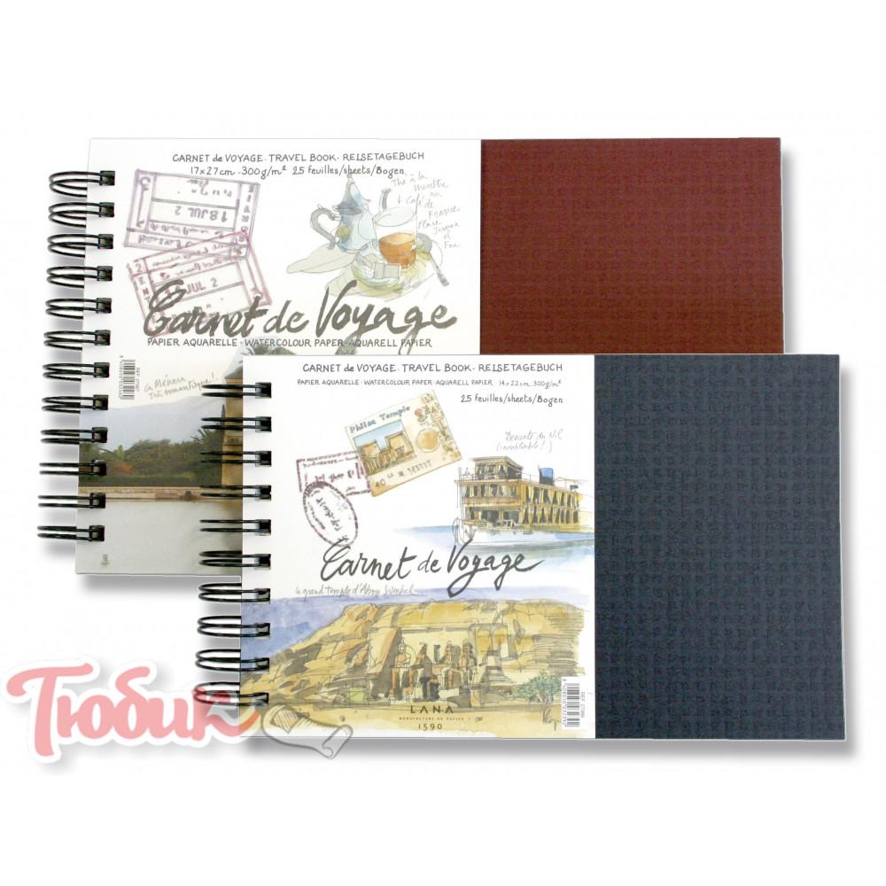 Альбом Carnet de Voyage, 25%хлопка, на спирали 300г , 17x27 см , 25 листов Код: 15027987